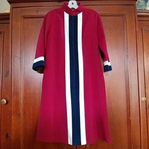 Vintage plush 3/4 zip front robe / dressing gown